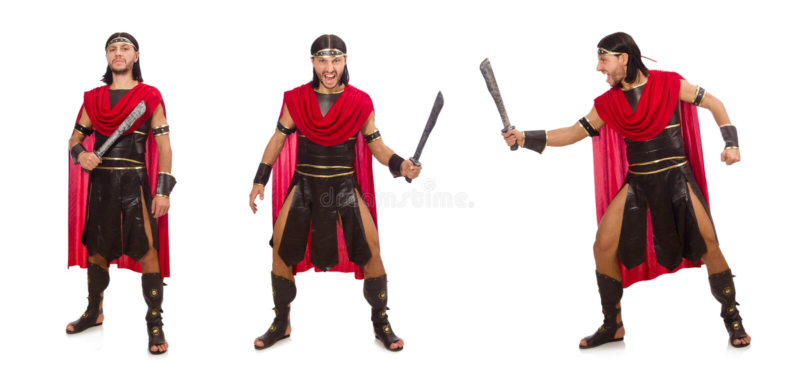 O gladiador com a espada isolada no branco fotografia de stock