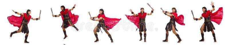 O gladiador com a espada isolada no branco imagens de stock