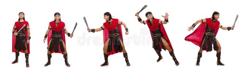 O gladiador com a espada isolada no branco imagens de stock royalty free