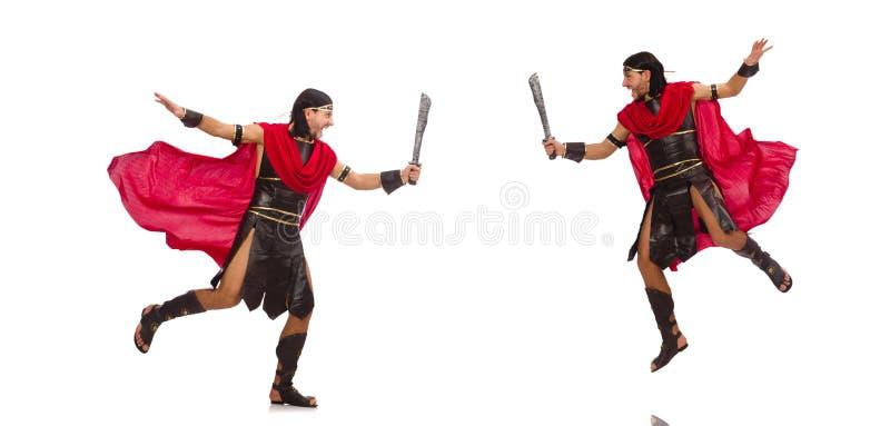 O gladiador com a espada isolada no branco fotos de stock royalty free