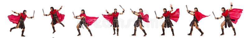 O gladiador com a espada isolada no branco fotografia de stock royalty free