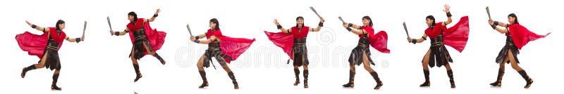 O gladiador com a espada isolada no branco imagem de stock