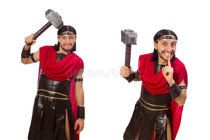 O gladiador com o martelo isolado no branco imagem de stock royalty free