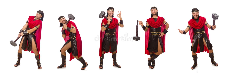 O gladiador com o martelo isolado no branco foto de stock royalty free