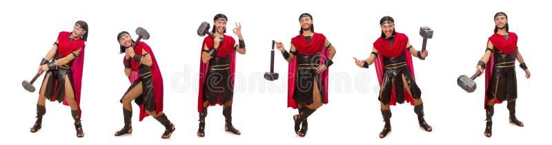 O gladiador com o martelo isolado no branco fotos de stock