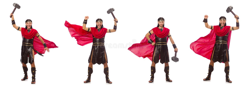 O gladiador com o martelo isolado no branco imagem de stock