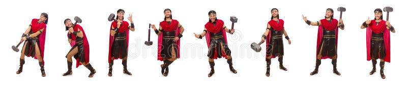 O gladiador com o martelo isolado no branco fotografia de stock