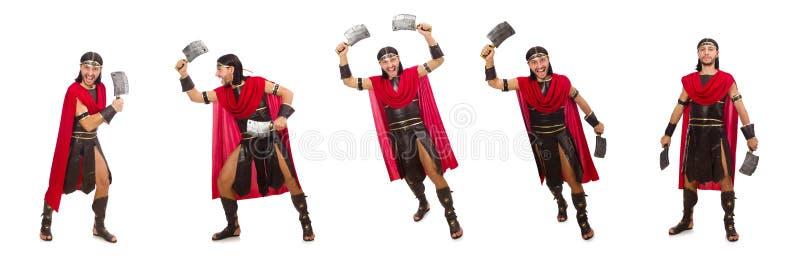 O gladiador com o talhador isolado no branco foto de stock