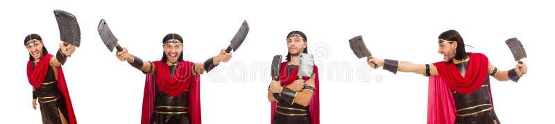 O gladiador com o talhador isolado no branco imagens de stock