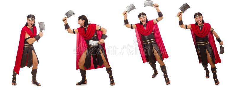 O gladiador com o talhador isolado no branco imagens de stock royalty free