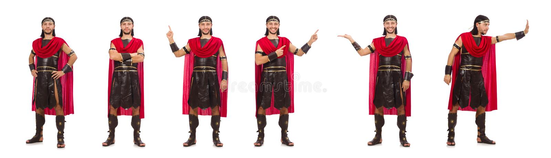 O gladiador isolado no branco imagens de stock