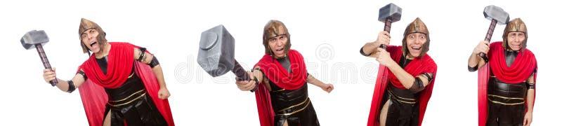 O gladiador isolado no branco fotografia de stock