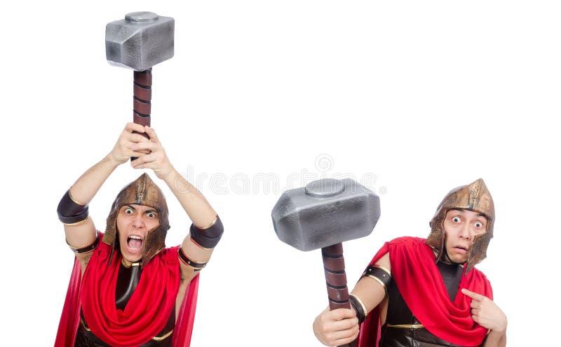 O gladiador isolado no branco imagem de stock
