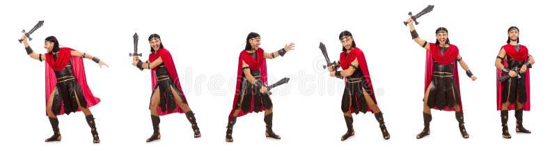 O gladiador que levanta com a espada isolada no branco foto de stock
