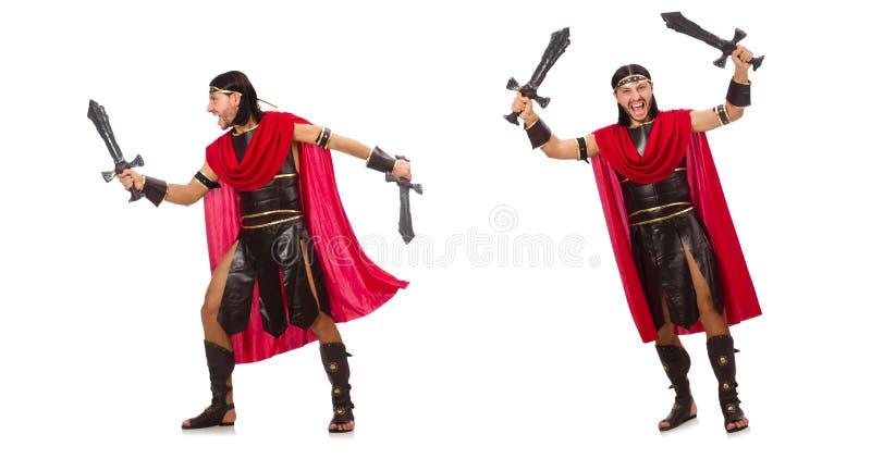 O gladiador que levanta com a espada isolada no branco imagens de stock