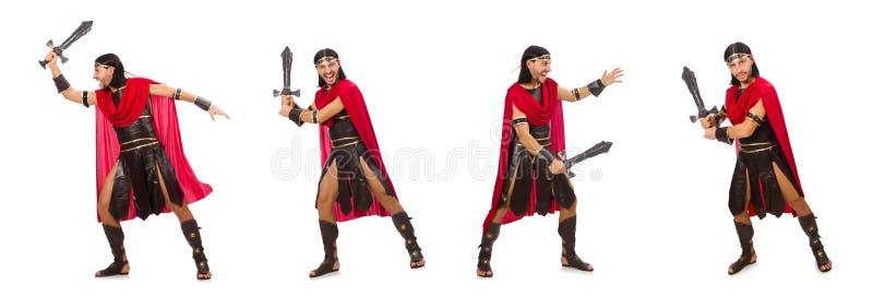 O gladiador que levanta com a espada isolada no branco fotos de stock