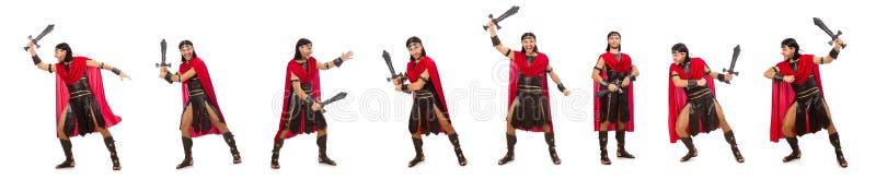 O gladiador que levanta com a espada isolada no branco foto de stock royalty free