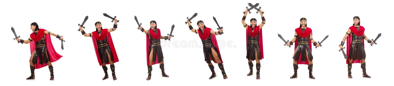 O gladiador que levanta com a espada isolada no branco imagem de stock royalty free