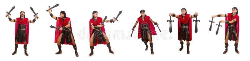 O gladiador que mantém a espada isolada no branco imagens de stock royalty free
