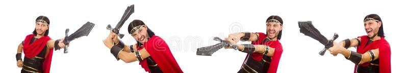 O gladiador que mantém a espada isolada no branco fotos de stock