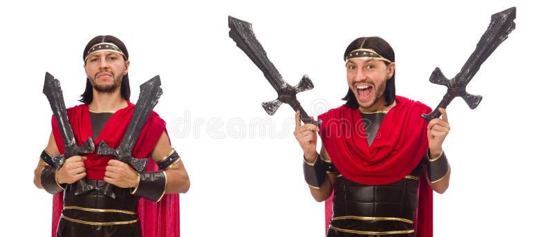 O gladiador que mantém a espada isolada no branco imagem de stock