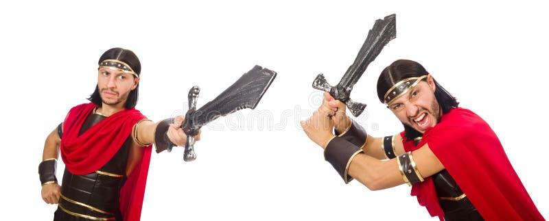 O gladiador que mantém a espada isolada no branco foto de stock royalty free