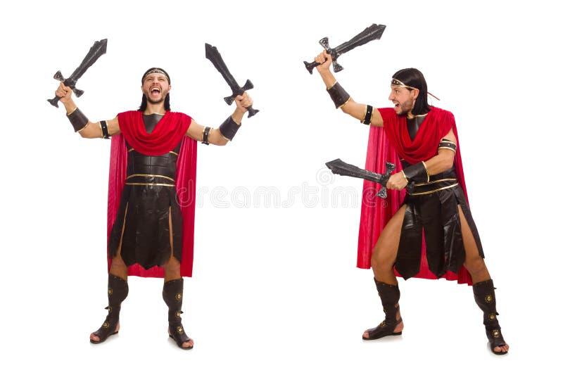 O gladiador que mantém a espada isolada no branco fotos de stock royalty free