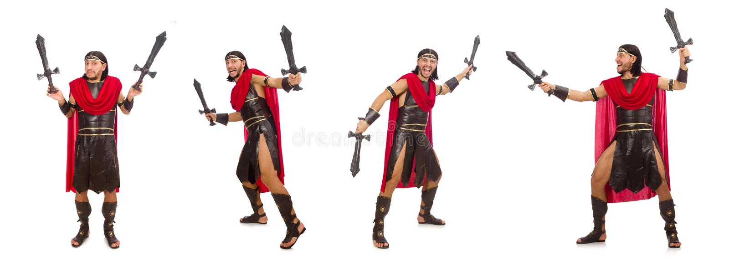 O gladiador que mantém a espada isolada no branco foto de stock