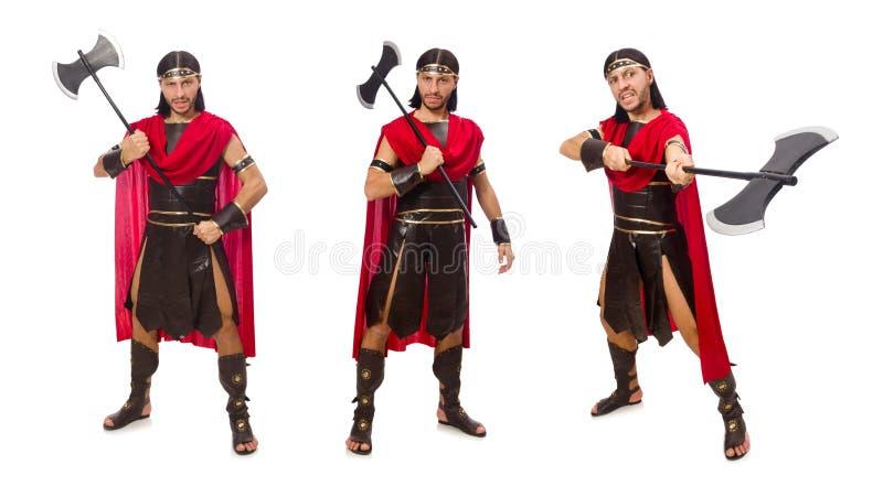 O gladiador que mantém o machado isolado no branco imagem de stock royalty free