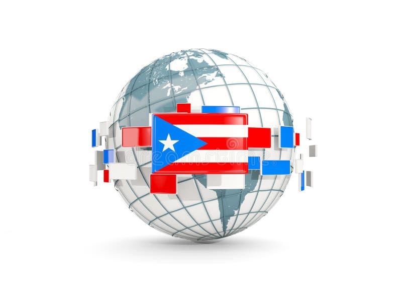 O globo com a bandeira de Puerto Rico isolou-se no branco ilustração royalty free