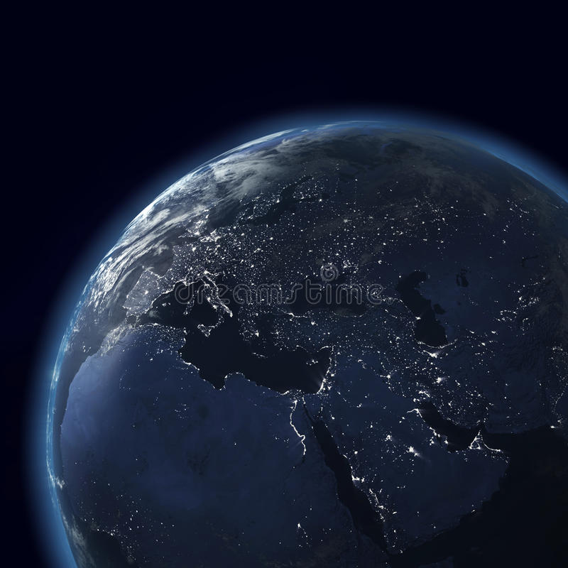 O globo da noite com cidade ilumina-se, Ásia, Europa ilustração stock