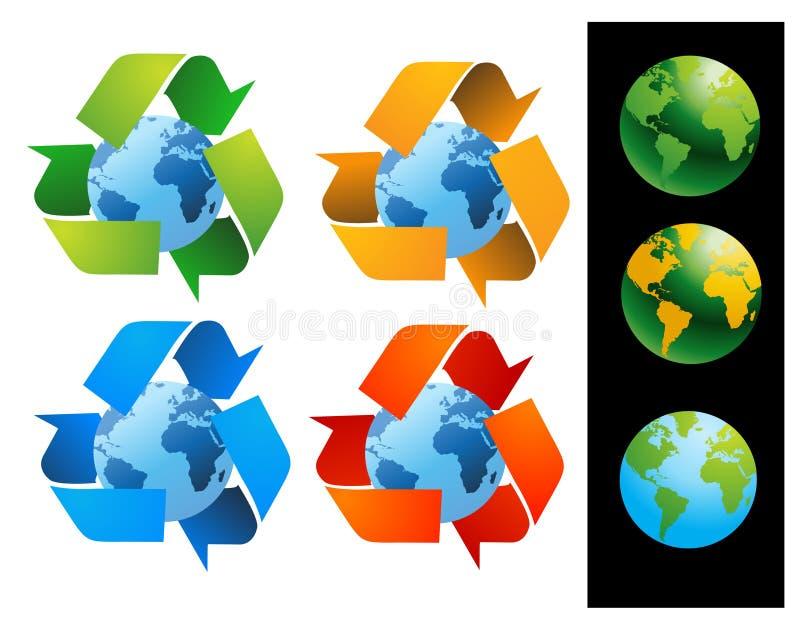 O globo do mundo com recicl sinais ilustração do vetor