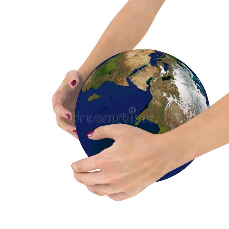 O globo em suas mãos, elementos da terra arrendada da mulher desta imagem forneceu por NASA, rendição 3D ilustração royalty free