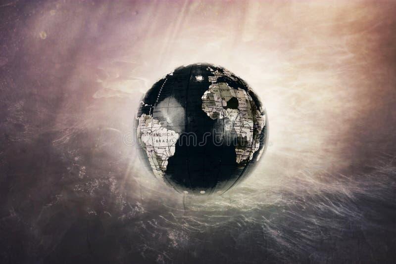 O globo escuro da terra desaparece no universo ilustração stock