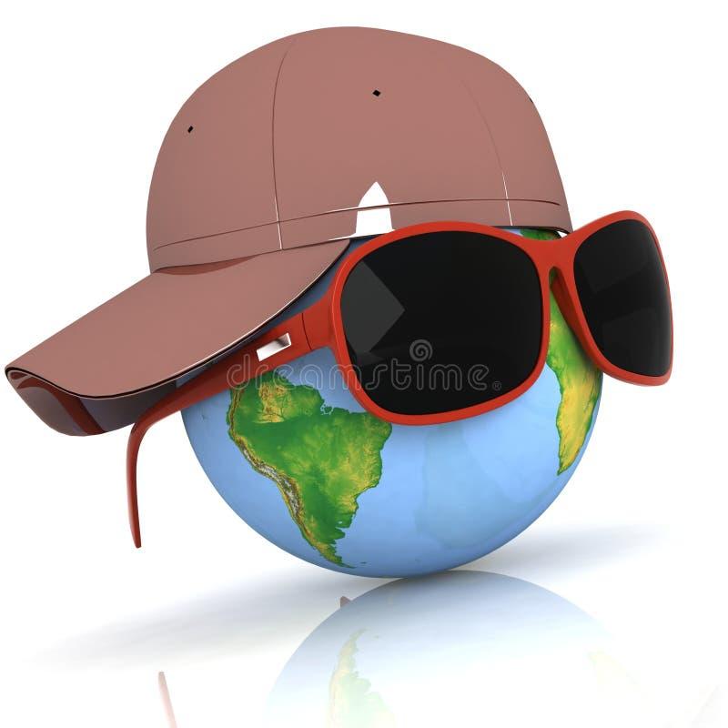 O globo está em eyeglasses escuros ilustração royalty free