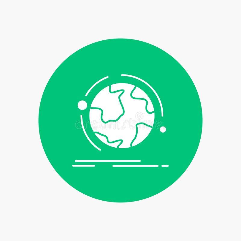 o globo, mundo, descobre, a conexão, ícone branco do Glyph da rede no círculo Ilustra??o do bot?o do vetor ilustração royalty free