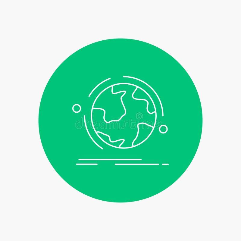 o globo, mundo, descobre, a conexão, linha branca ícone da rede no fundo do círculo Ilustra??o do ?cone do vetor ilustração stock