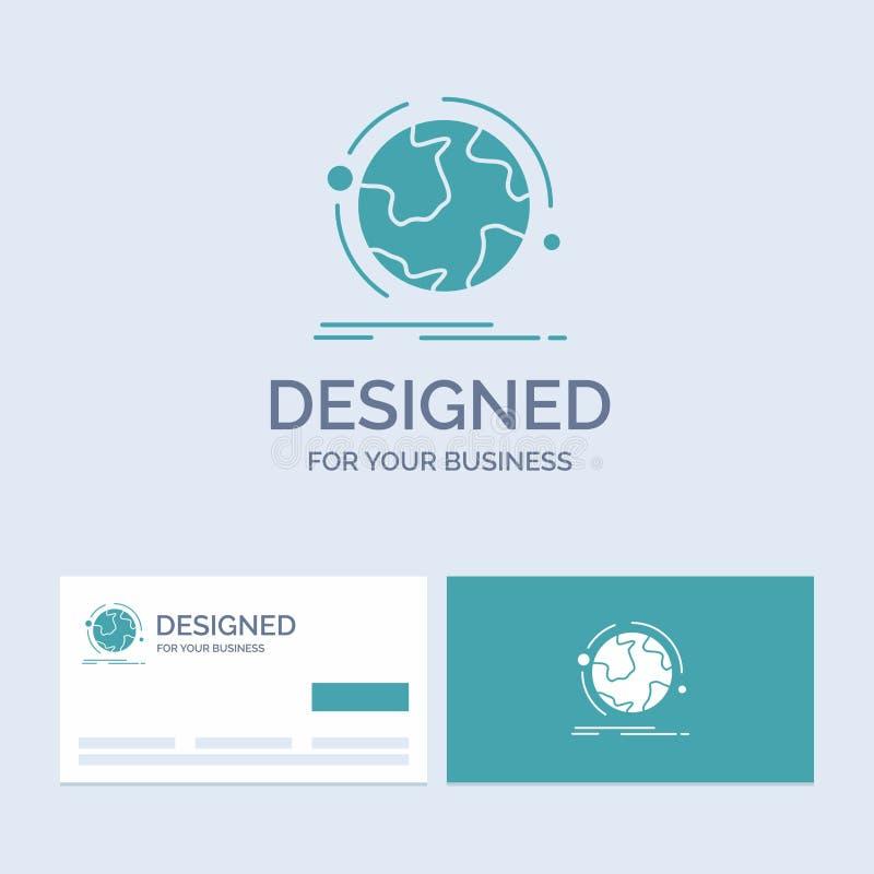 o globo, mundo, descobre, a conexão, negócio Logo Glyph Icon Symbol da rede para seu negócio Cart?es de turquesa com tipo ilustração royalty free