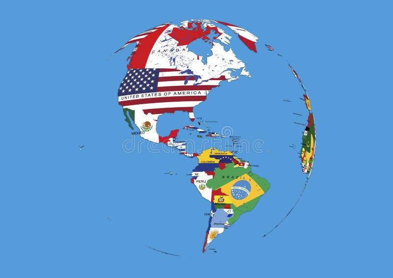 O globo ocidental do mundo do hemisfério embandeira o mapa ilustração stock
