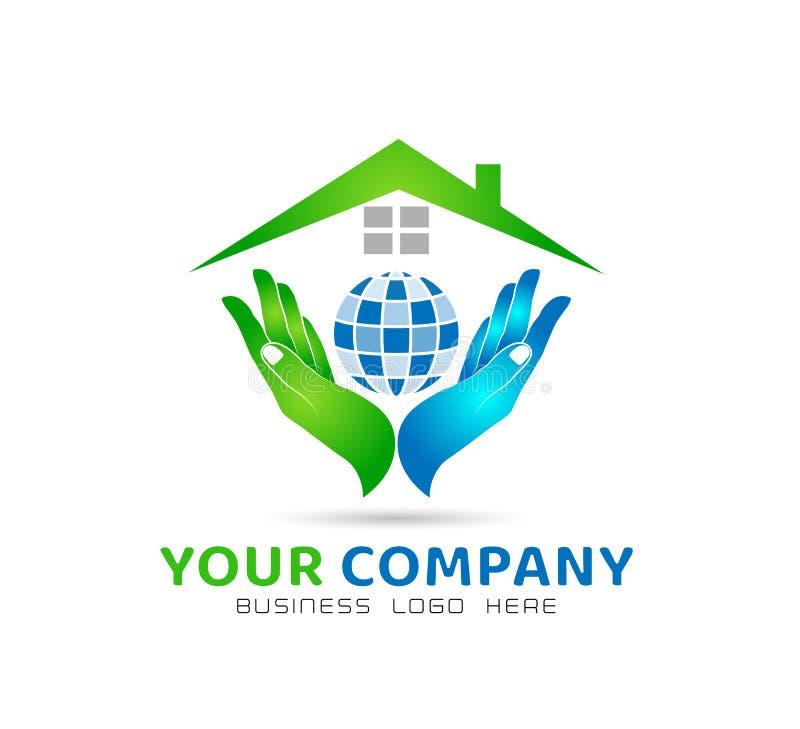 O globo que guarda a união da família do ícone das mãos, ama o cuidado no logotipo das mãos ilustração stock