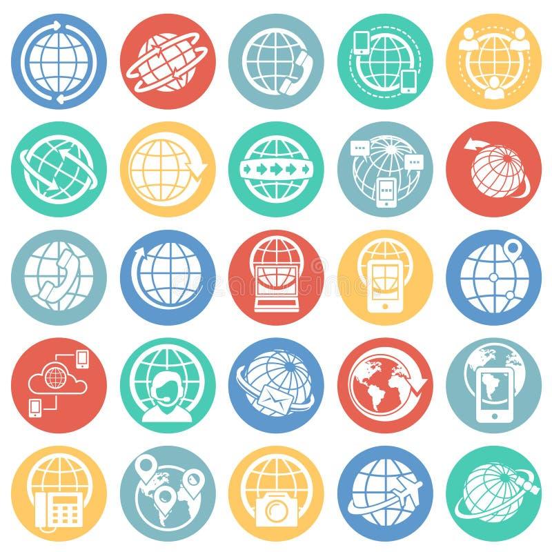 O globo relacionou os ícones ajustados no fundo branco dos círculos de cor para o gráfico e o design web Sinal simples do vetor I ilustração do vetor