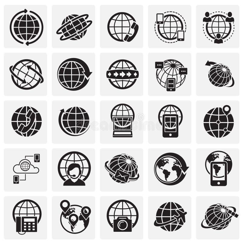 O globo relacionou os ícones ajustados no fundo dos quadrados para o gráfico e o design web Sinal simples do vetor Símbolo do con ilustração do vetor