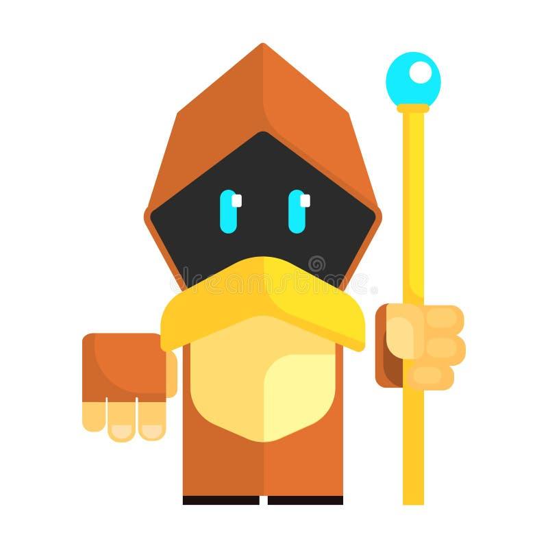 O gnomo dos desenhos animados em um cabo com incandescência eyes guardando o pessoal em suas mãos Conto de fadas, caráter colorid ilustração stock