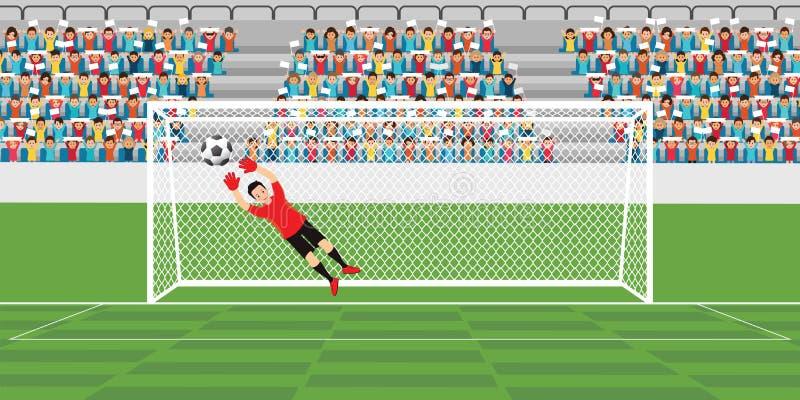 O goleiros que salta para travar a bola de futebol ilustração stock