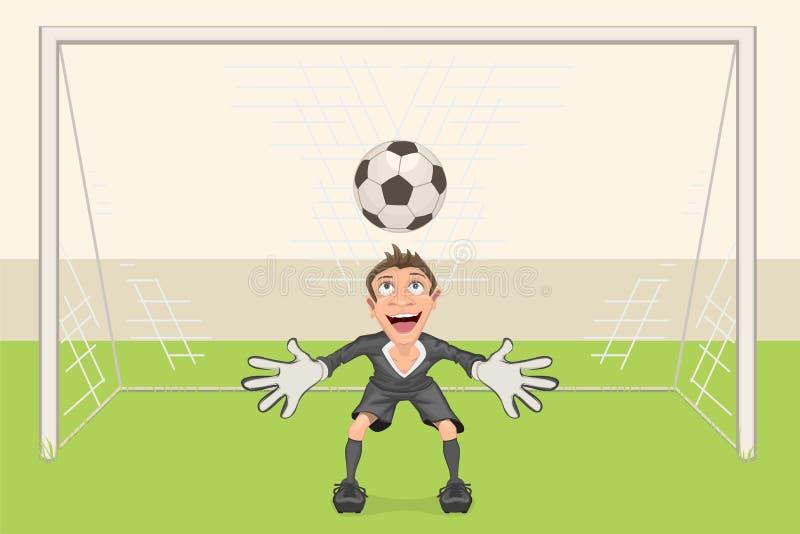 O goleiros trava a bola de futebol Pontapé de grande penalidade no futebol Objetivo do futebol ilustração stock