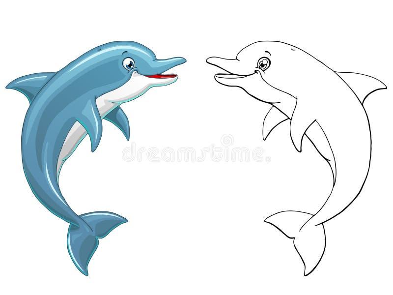 O golfinho salta colorido e o esboço ilustração do vetor