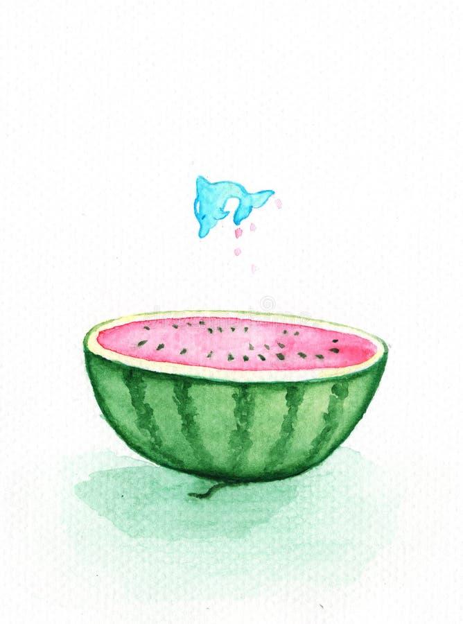 O golfinho salta da pintura da aquarela da melancia Corte desenhado à mão da metade da melancia ilustração stock