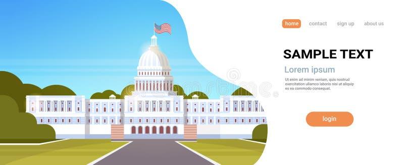 O governo americano da bandeira branca do Estados Unidos da América do Washington DC da casa que constrói a arquitetura exterior  ilustração do vetor