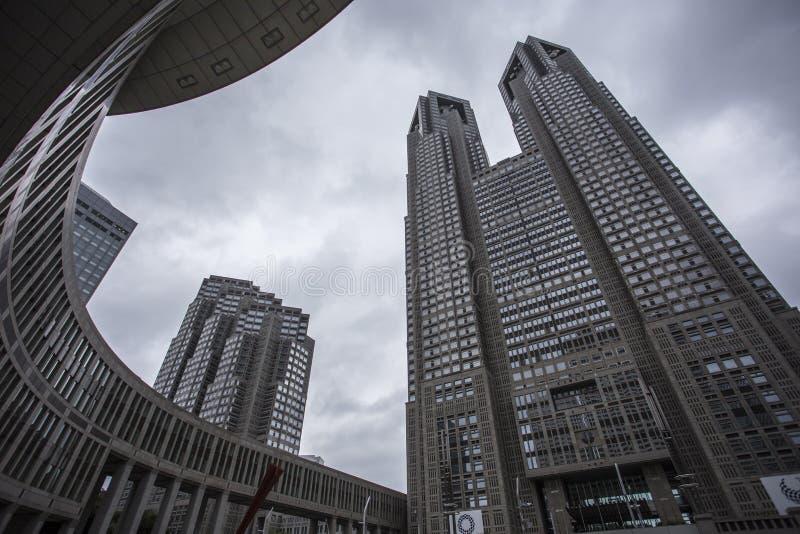 O governo metropolitano do Tóquio que constrói igualmente referiu como Tocho para breve no alvorecer fotos de stock