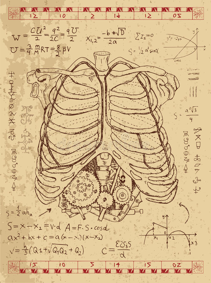 O gráfico ajustou-se com a caixa da anatomia e mecanismo humanos do steampunk nos reforços ilustração stock